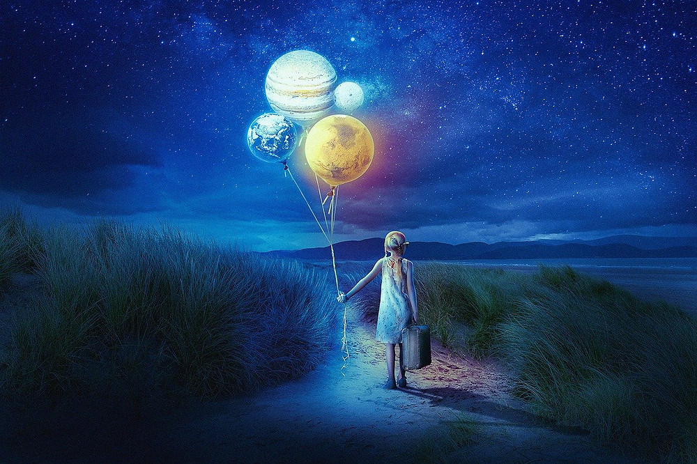 Girl holding suitcase and balloons (the planets & Earth) The Poetry of Life.