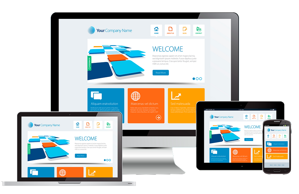 computers and tablets showing website designs