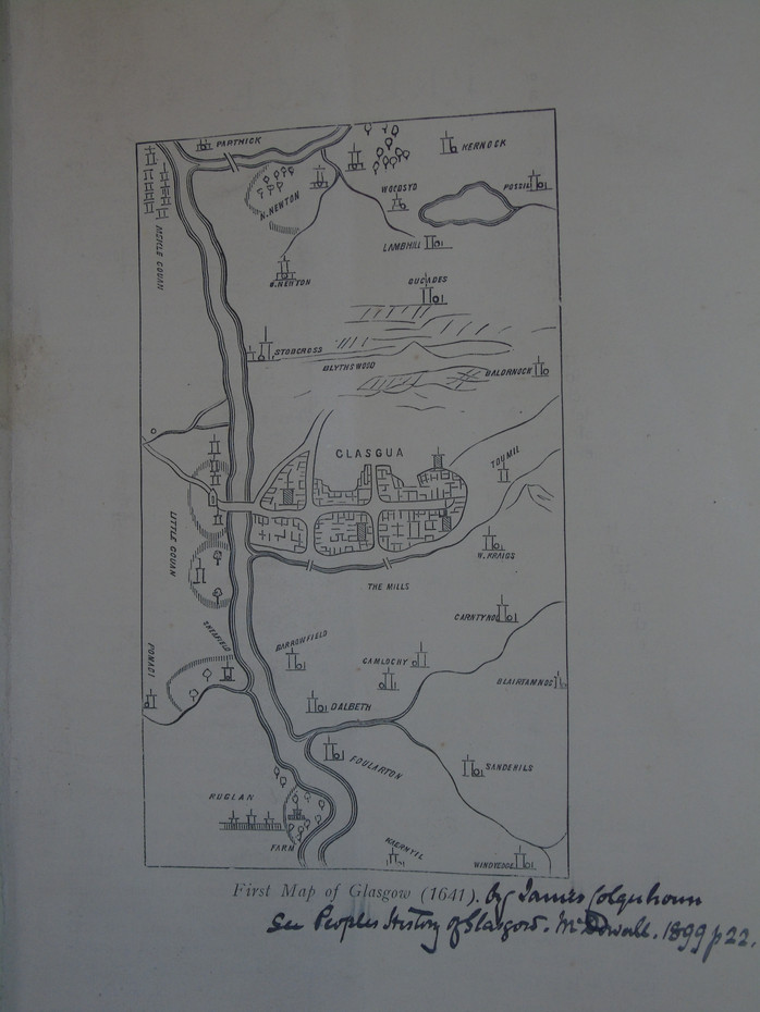 An 1899 copy of the first map of Glasgow from 1641