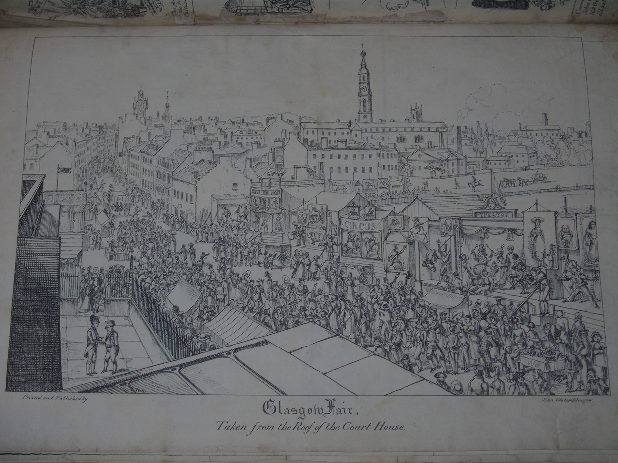 A cartoon from the Northern Looking Glass showing Saltmarket during the Glasgow Fair from the roof of the High Court