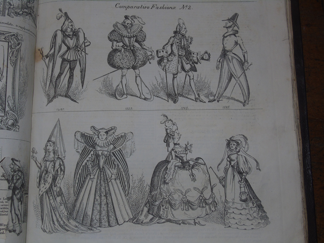 A cartoon from the Northern Looking Glass comparing the fashion of past centuries with the contemporary 1820s fashion