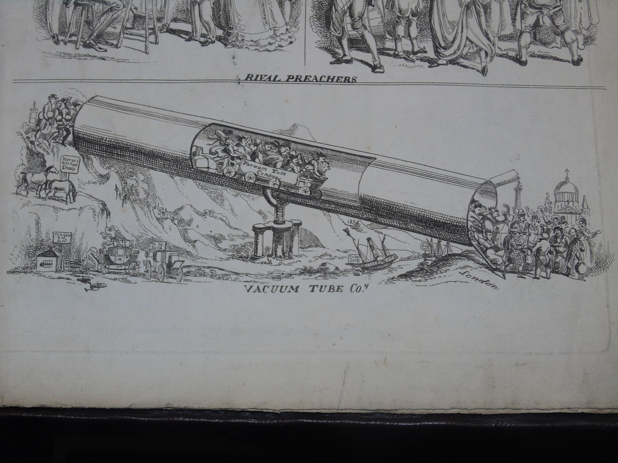 A cartoon from the Northern Looking Glass depicting a hypothetical new method of high-speed travel: the vacuum tube