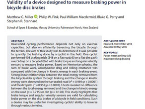LATEST SCIENCE: Validity of a device designed to measure braking power in bicycle disc brakes
