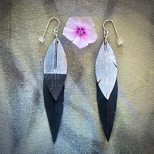 Ceylon Crow double feather earrings 2