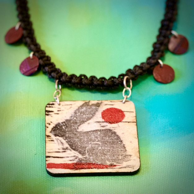 UpCycle Jewelry necklaces, Rabbit and the red sun