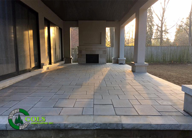 stone patio design outdoor fireplace