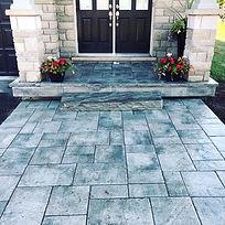 Front yard home walkway entrance stonepatio steps design