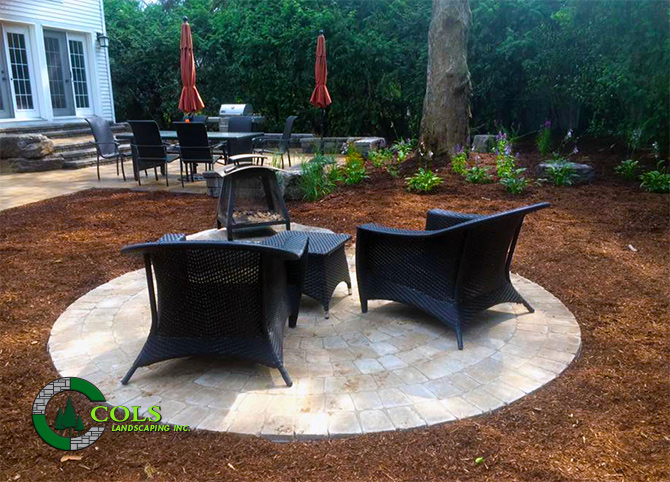 backyard fire pit stone patio design