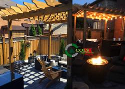 COLS wood pergola patio fire pit
