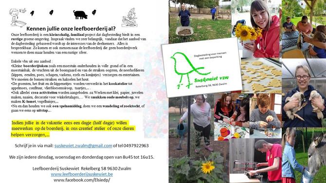 Kom deze zomer meegenieten op leefboerderij Suskewiet Vzw!