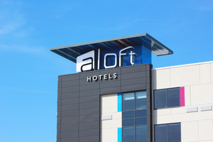 The Aloft Hotel at Cortex facade in April 2020