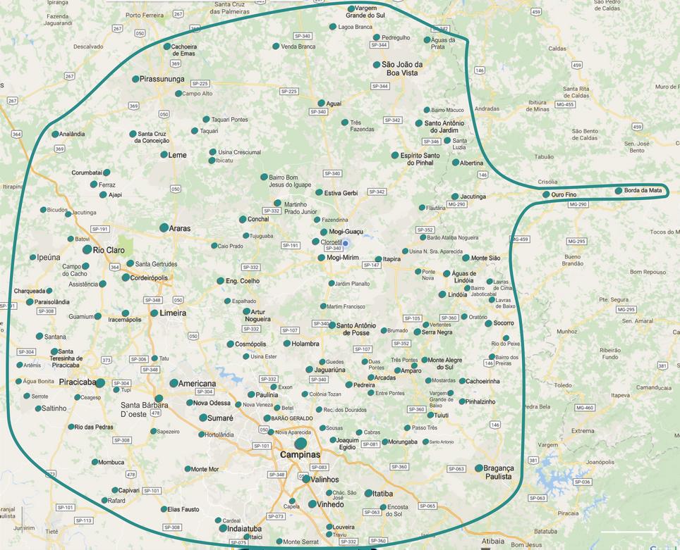 Mapa com as regiões de atendimento para vendas, consultoria e projetos, tudo em um só lugar.