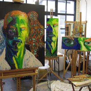 3 Self Portraits in the studio