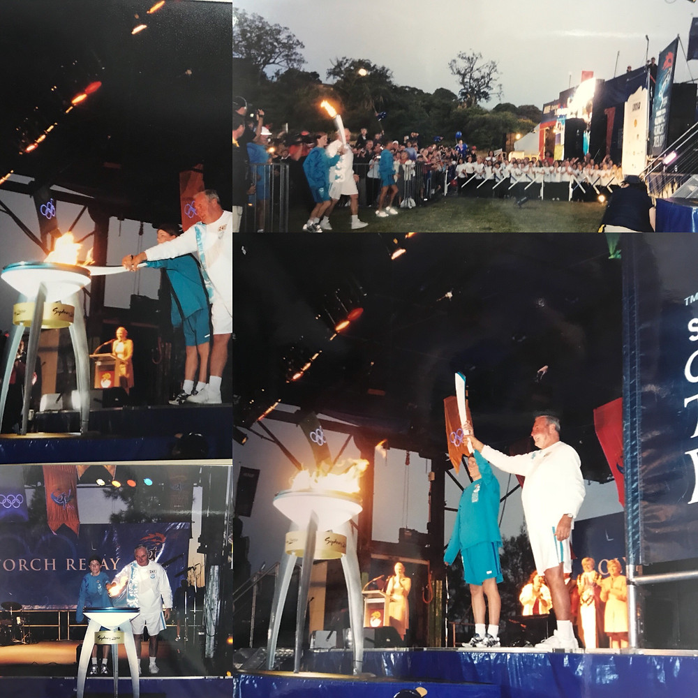 Image of lighting the cauldron in Gladesville in the 2000 Olympic Torch Relay