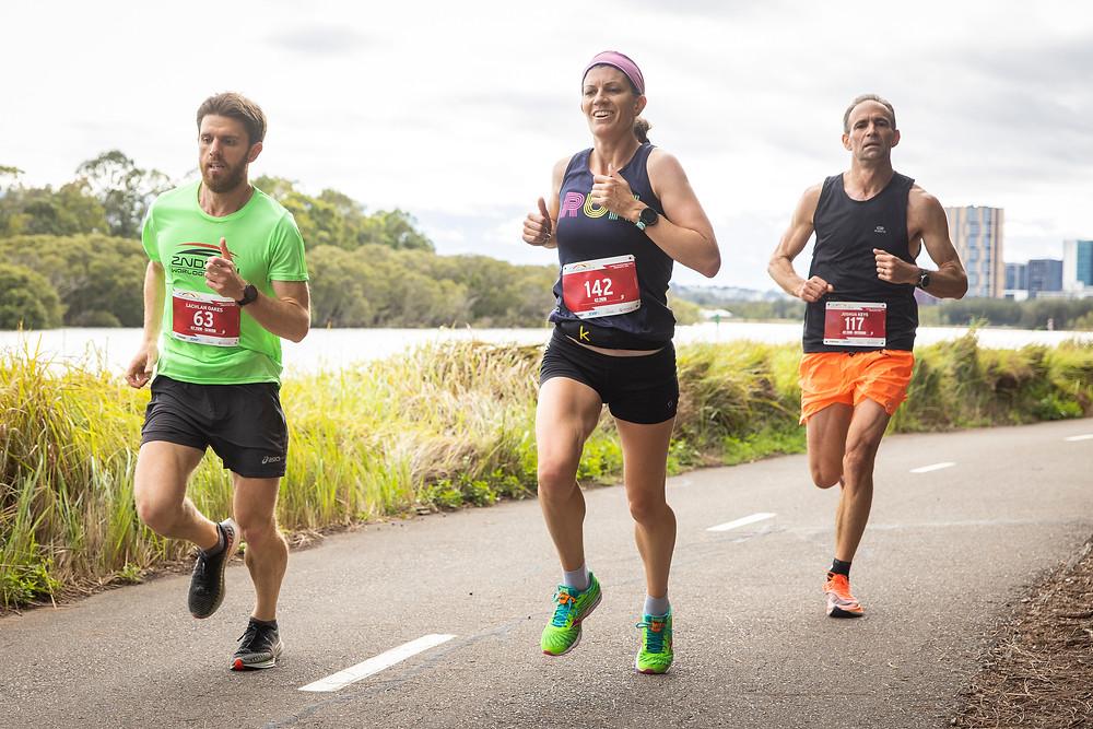 Image of me running the Three Bridges Marathon 2020