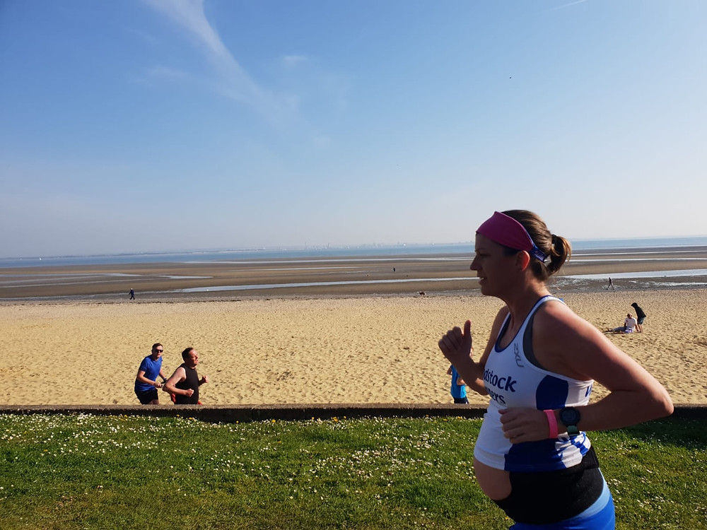 Image of me running parkrun in the UK