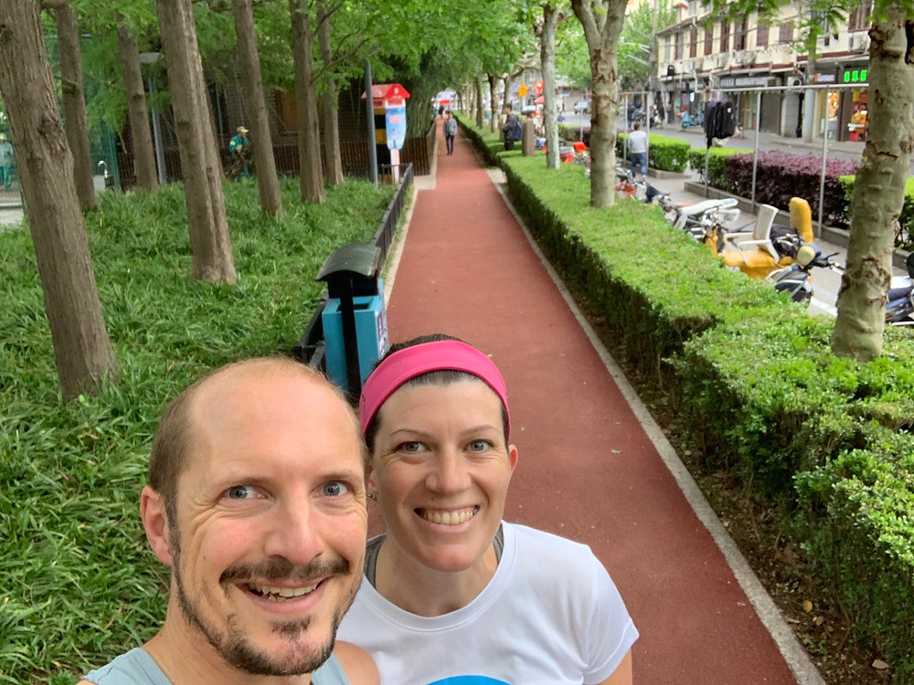 Image of us running in Shanghai