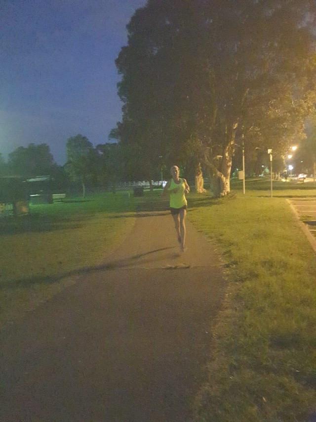 30km point of the marathon and getting dark
