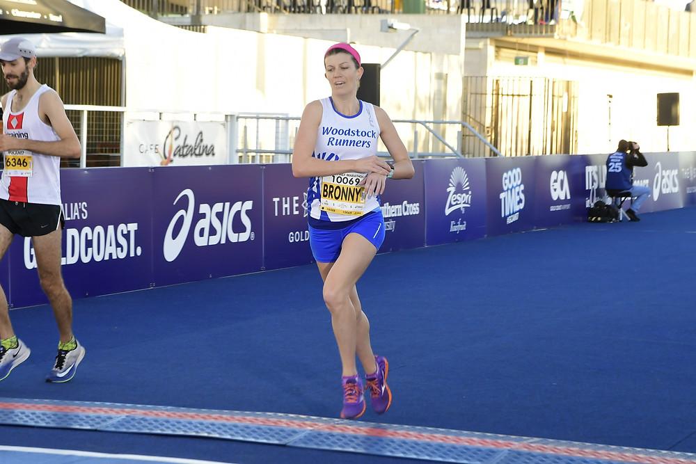 Me finishing the 2017 Gold Coast Half Marathon