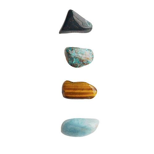 Creativity + Peace * Aquamarine, Bloodstone, Chrysocolla & Tiger Eye