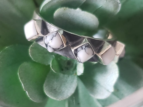 Sterling Silver Diamond Howlite