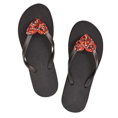 Handmade Crystal Heart (Red) - Women's Flat Sandal