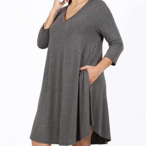 V-Neck 3/4 Sleeve Dress With Pockets