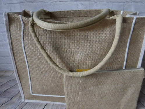 Burlap Tote with Wristlet