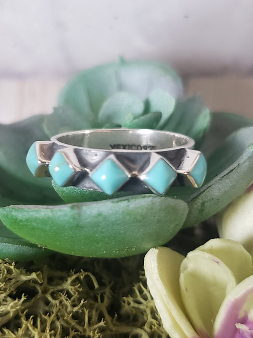 Turquoise Diamonds Sterling Sliver Ring