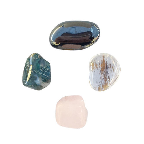 Self-Confidence * Rose Quartz, Hematite, Crystal Quartz & Moss Agate