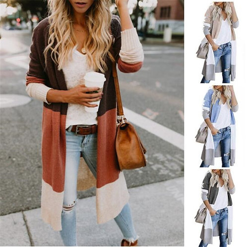 Spring Sweater Colorblock Loose Cardigan
