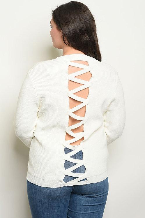 Lattice Back +Size Sweater (3 colors)