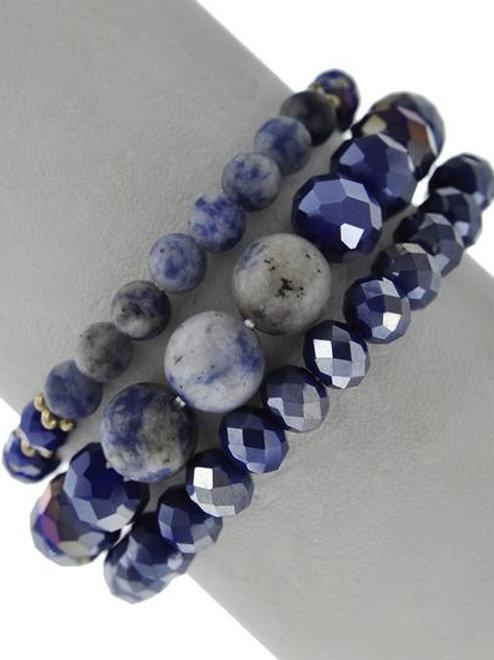 Lapis Stone Stretch Stackable Bracelets