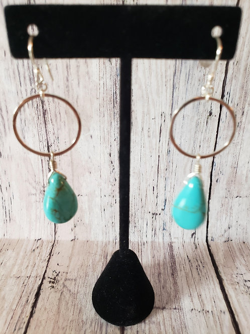 Jump Thru Hoops Turquoise Earrings