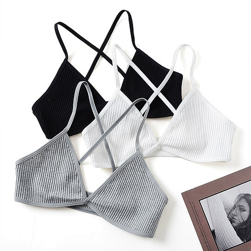 2 PCS Comfort Cotton Bras for Women Thin French Style Bralette