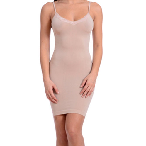 Seamless Shaper With Lace Trim-Blush