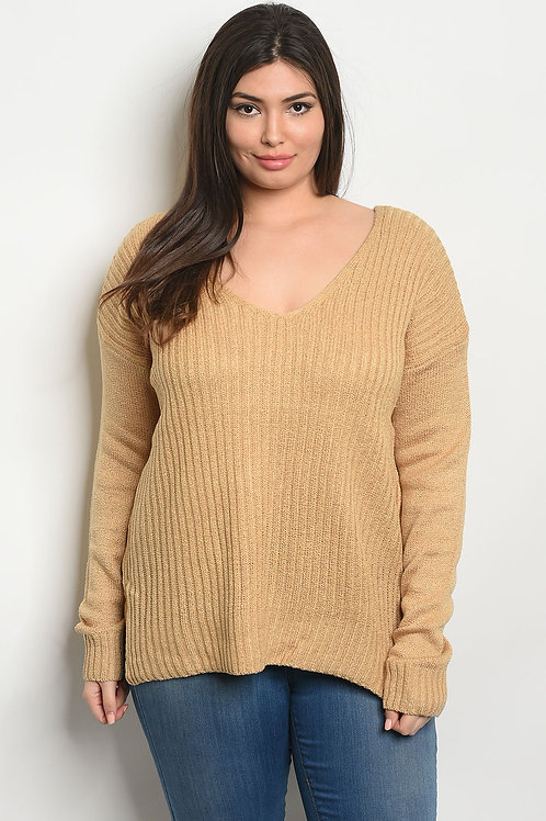 Simple V-Neck Ribbed Top