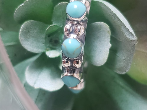 Turquoise Dot Sterling Silver Ring