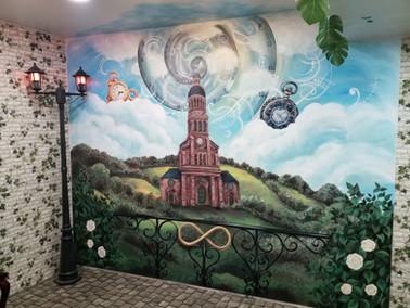 """Peinture murale """"Au Pass' Temps"""" à Ernée"""