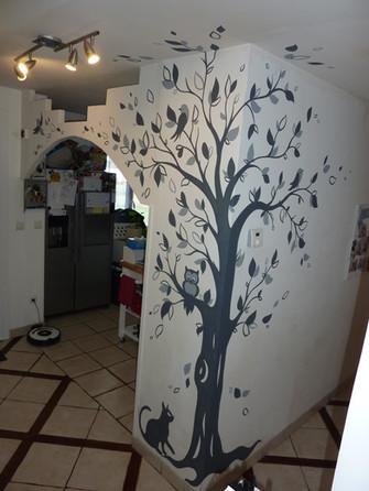 peinture murale arbre