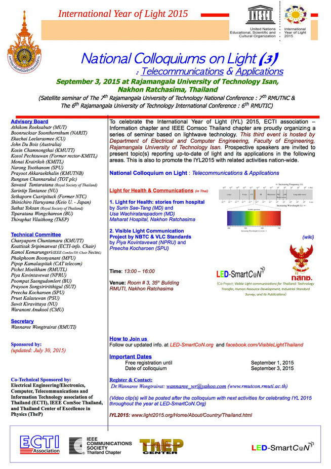 National Colloquiums on Light : Telecommunications & Applications