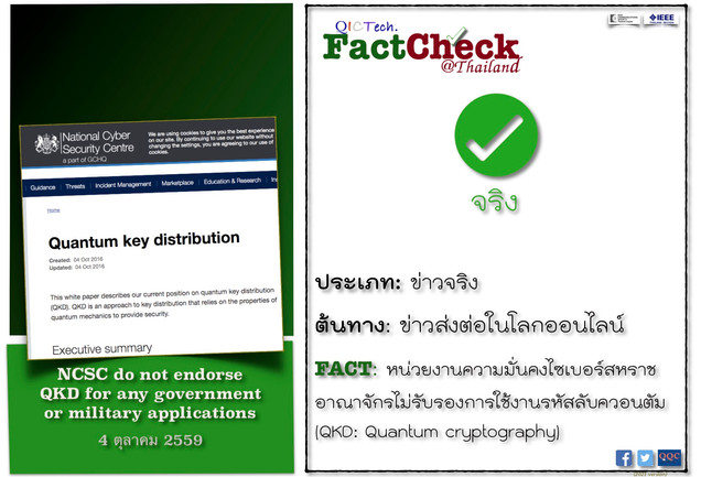 FactCheck - NCSC: do not endorse QKD