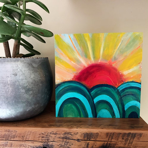 The Beauty of Rising, 6 x 6 on cradled wood