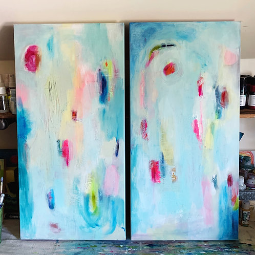 "Double Rainbow, Two 12 x 24 paintings on 1 1/2"" canvas"