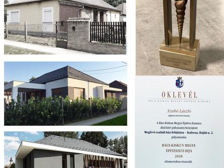 építészeti díjat hozott a házfelújítás terve