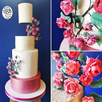 Floating tier with mini climbing roses.j