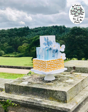 Marble and Wafer Paper Flowers Wedding Cake