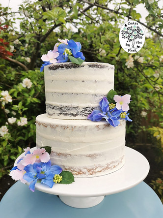 Semi-Naked Wedding Cake with Flowers