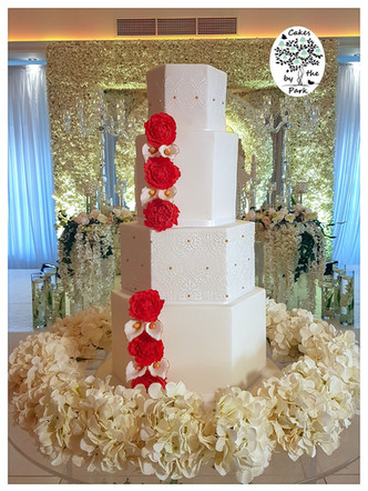 Hexagonal Wedding Cake with Sugar Flowers