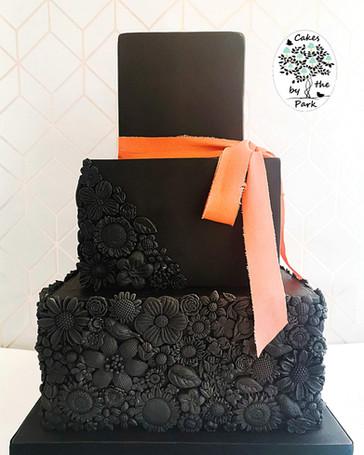 Black Bas Relief Wedding Cake
